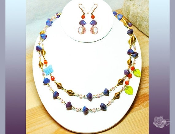 """21"""" Blue/Purple Czech Beads, Rose Crystals Orange Catseye Gold Bead Chain Necklace Blue Butterfly Green Leaves, And/Or Matching Earrings"""