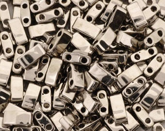 Seed Beads-5mm 1/2 Cut Tila-190 Nickel-Miyuki-7 Grams