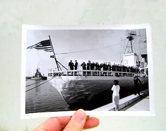 Vintage 5x7 Black and White Photo, Vintage Sailors Mid Century Photo, Sailor Black and White Photo