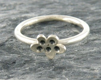 Silver Stacking Ring, Cute Flower Stackable Sterling Silver Ring, Silver Flower Ring, Ring For Teens, Tiny Flower Ring, Tiny Ring