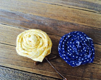 Blue and yellow fabric rosette bobby pin