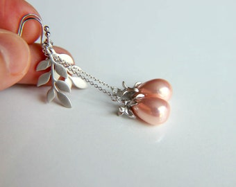 Dangle Earrings: Pink pearls with bird findings combined with rhodium plated metal leaves gift for wedding, valentine's, mother's day.