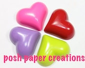 4 heart crayons - in cello bag tied with ribbon