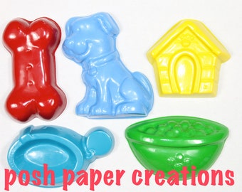 5 puppy theme crayons - in cello bag tied with ribbon - choose your colors