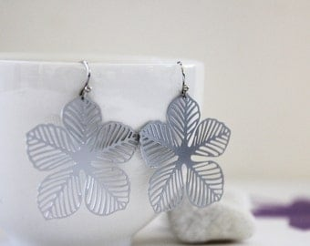 Floral Earrings. Matt Silver. Statement Earrings. Everyday Wear. Modern Chic. Gift For Her (SER-58)