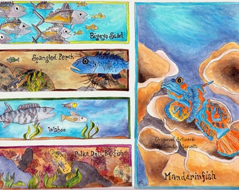 "Original Illustration ""Swim""  Fish Art, 9x12 Acrylic Painting, Bathroom Decor, Child's Room Wall art"