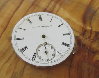 Vintage Non Working  American Pocket Watch Co. Movement Porcelain Dial