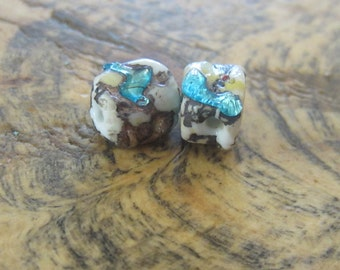 2 Small Vintage Beads w Green Drizzle over Bone White Glass