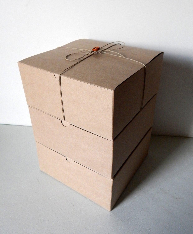 Gold Favor Boxes 4x4x4 : X kraft gift boxes