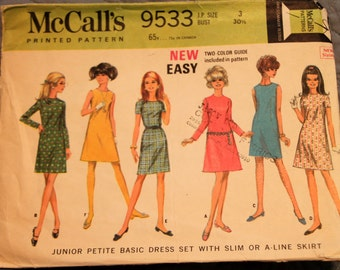 McCall's Pattern 9533 size 3 bust 30.5 Junior Petite basic Dress Pattern with slim or A Line skirt (P150)