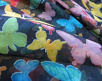 One Yard Sheer Black Fabric with Bright and Sparkly Butterflies