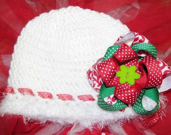 White Crochet Hat With Christmas Bow