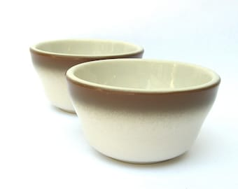 Vintage Wallace Restaurant Ware Fruit Bowls, Made in USA Retro Diner, Mid Century, Mocha Brown Fade