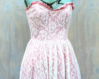 Vintage Strapless Tea Length Dress, Retro 1970s 80s Gunne Sax Jessica McClintock, Lace Tulle Dusty Rose Prom Princess