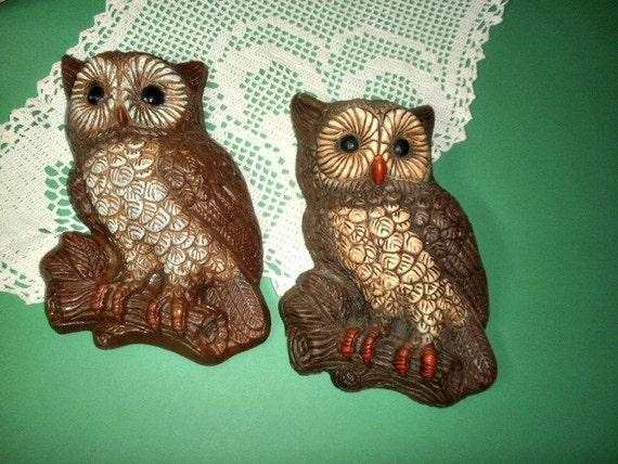 2 Vintage Owls 3D Foam Resin Wall Hangings Owl Home Decor
