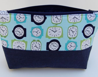 Blue Zipper Pouch, Navy Blue Cosmetic Bag, Blue Makeup Bag, Retro Cosmetic Bag, Bridesmaid Gift
