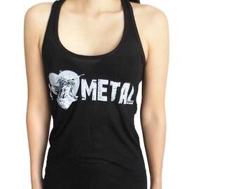 I Love Metal Screaming Kitty Female Ring Spun Shirt  - ON SALE!