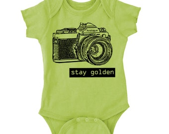 Nothing Gold Can Stay Vintage SLR Camera Onesie Creeper or Toddler T-Shirt