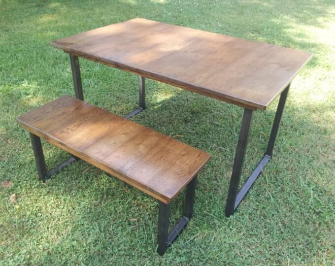 Reclaimed Wood Table with Steel Legs Rustic Wood Dining Table Rustic Wood Table Metal Legs