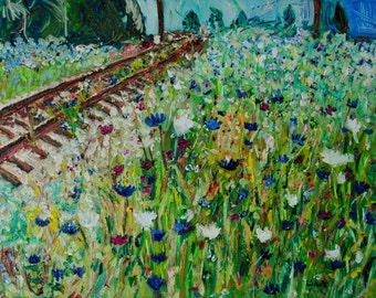By the Tracks-FINE ART PRINT Abstract Impressionism Wildflower Train Track Oil Painting