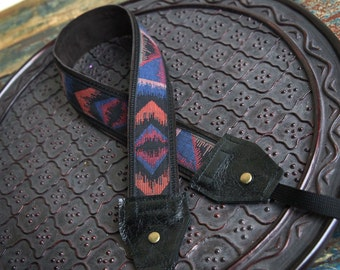 Black and Blue Tribal Leather and Suede Camera Strap