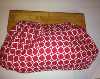 Red & White Cotton Cloth Wooden Handle Clutch Handbag
