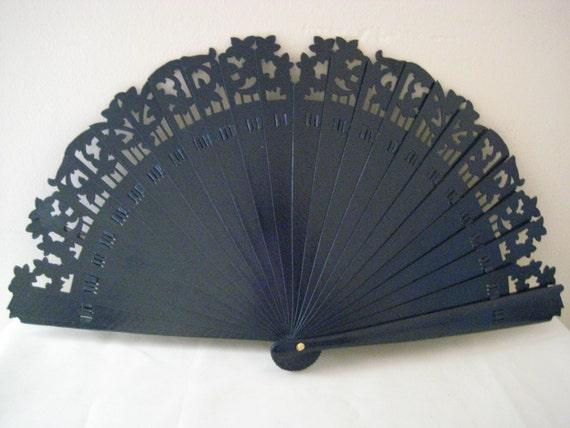 Regency/Victorian Style Fan. Navy Blue Brise style. READY TO SHIP