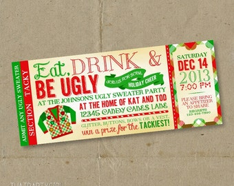 Perfect Ugly Sweater Invitation, Ugly Sweater Invites, Ugly Sweater Christmas Party  Invite, Ugly Christmas  Christmas Party Ticket Template Free
