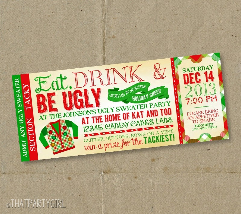 Ugly Sweater Christmas Party Ticket Invitations DIY