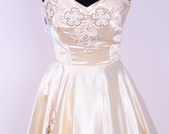 40's/50's Heavy Ivory Satin Embroidered Strapless Wedding Prom Occasion Dress with Matching Shrug