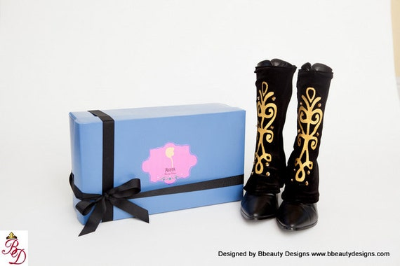 Anna Custom Frozen Spat and Boots in Black Adult Costume