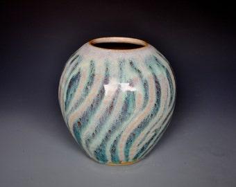 Small Round Flower Vase Handmade Jade Green A