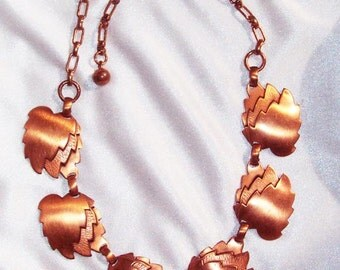 Vintage COPPER Leaf Links Necklace
