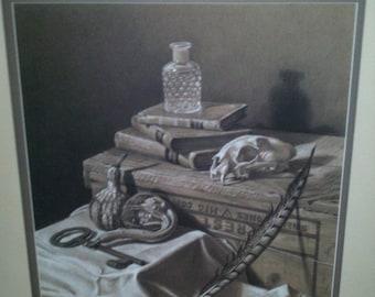 Skull, Key, Art, Charcoal ORIGINAL Still Life Drawing