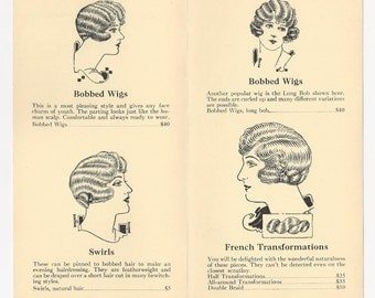1926 Women's Wigs brochure with prices