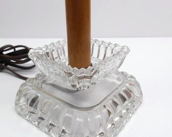 Vintage Glass Candlestick Table Lamp