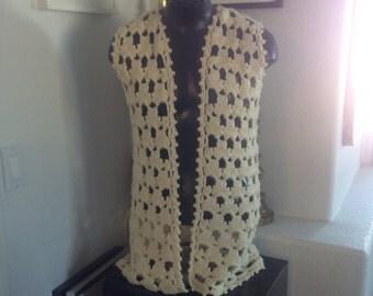 Retro mod crochet vest long sweater vest