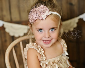Baby Headband, Vintage Inspired Headband Silk Rosette Headband Flower Fascinator Couture Baby Toddler Women Headband Photo Prop NO.14-23