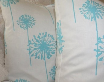 Preimer Prints Dandelion, Girly Blue, SALE, Set of Two Pillow Covers, 18x18, Ready to Ship by Sew Custom Designs
