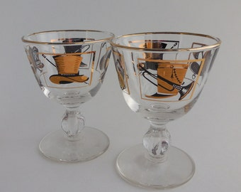 2 Vintage Libbey Top Hat Cocktail Glasses circa 1960s Black and Gold