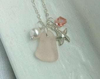 Pink Seaglass and Starfish Necklace. Beach Wedding Jewelry.