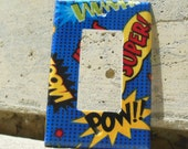 Superhero Comic Book Exclamations Rocker / Decora / Dimmer / GCFI Light Switch Plate Cover