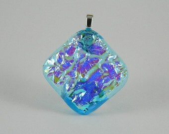 Turquoise, Silver, and Purple Dichroic Fused Glass Pendant