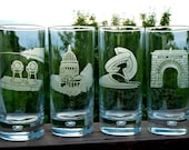 Etched Pint Glasses – UW-Madison, Wisconsin, Union Terrace Chairs, Capitol Building, Engineering Fountain, Camp Randall Archway