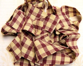 1 yard Homespun Cotton Fabric Ribbon Burgundy Tan Check