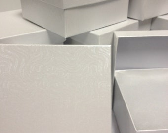 10 Pack - White Satin Swirl Boxes (3.75 x 3.75 x 2 in.)