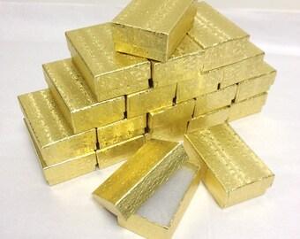 Gold Foil Boxes - 20 count (3.25 x 2.25 x 1) Cotton Filled Boxes