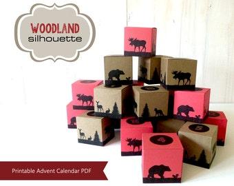 Advent Calendar, Printable Advent Calendar, Countdown to Christmas, Advent Calendar Boxes, Woodland Christmas