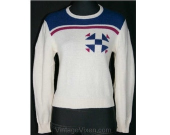 Cool Retro 80s Does 40s Snowflake Motif Ski Sweater - Size 6 to 7 - Winter - Modernist - 1980s Pullover - Bust 33 - Waist 27.5 -  33497-1