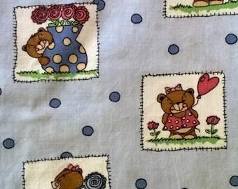 Teddy Bear Novelty Print Cotton Fabric 1 1/2 Yards X0338